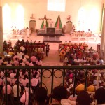 Aerial view of the church service