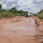 The bad portion of the road at Ekpugrinya, Ogoja before Gerald Ada's intervention.