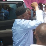 Idagbo acknowledging a crowd of supporters in Ugep recently