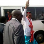 Buhari, acknowledging cheers from the crowd in Calabar