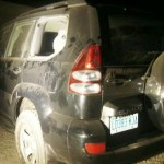 Mark Obi's destroyed vehicle