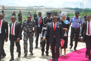 Gov. Ayade and wife Linda, arriving for the ceremony