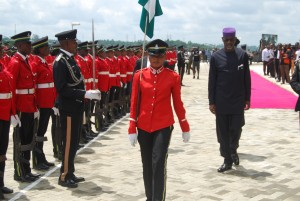 Imoke inspecting his last guard of honour as CRS governor