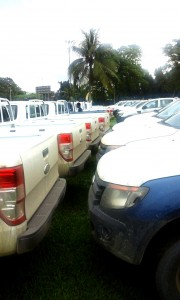 The new vehicles parked at the Cultural Centre grounds, Calabar