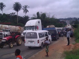 The gridlock at Odukpani Junction, no thanks to the 'good' road into Calabar. Pic Credit: Ebri Omini