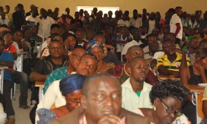 Cross section of the large crowd at the Town Hall meeting