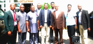 The Commissione for Lands, fourth from left, in a group photograph with the D-G(in brown suit) and senior staff of the Agency.