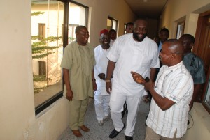 CR Commisioner of Finance, Asuquo Ekpenyong, arriving the Ministry shortly after he was sworn-in