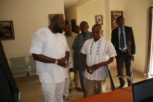 Inspects the MOFINEWS section of the Ministry, with him is the Dir. of Admin, Ben Ollom