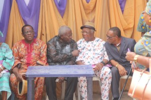 L-R, Fmr CR Head of Service, Wilfred Inah, the bereaved, Arikpo Ettah and Otu A. Ubi, after interment