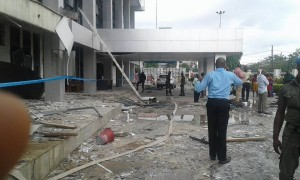 Front view of the Central Bank of Nigeria, Calabar office, after Friday's explosion that rocked the building.