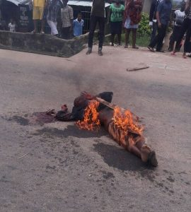 The suspect after he was set on fire
