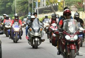 The bikers on parade