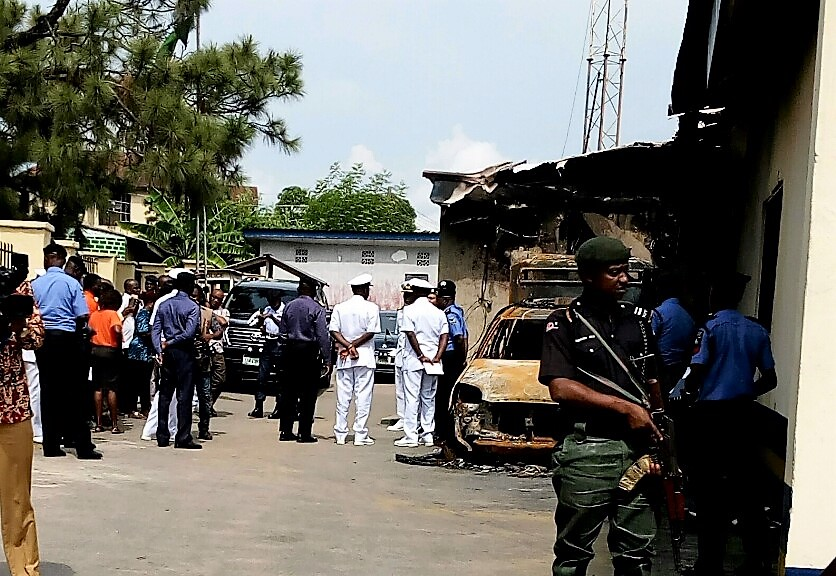 Chief Of Naval Staff Visits Burnt Akim Police Station