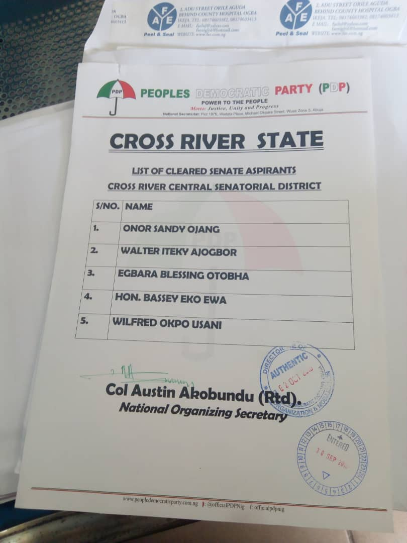 List Of Cleared CR Central Senatorial Aspirants Unsettles Many, But …