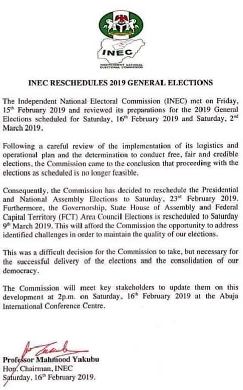 INEC Postpones Presidential & National Assembly Elections To Feb 23, Read Letter