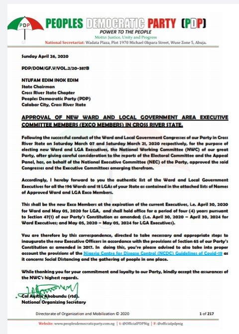 New Ward & LG Exco List Stuns CRS PDP